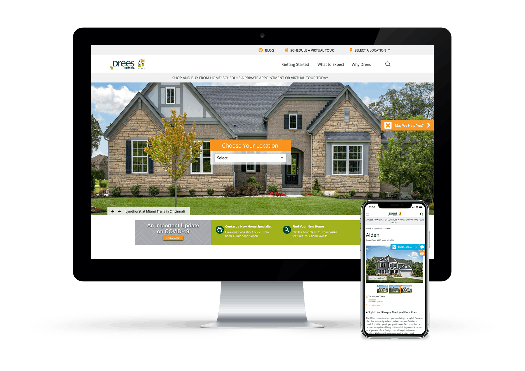 Design example of Drees Home website redesign