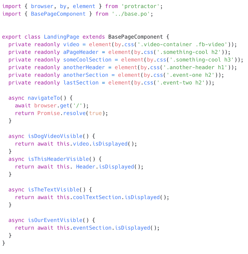 A JavaScript code example, showing how unit tests could be set up via Protractor and Jasmine framework (powered by the test runner Karma) for an Angular website. The landing page is where end-users would typically first encounter the website, so the tests below ensure that all elements, headers, and other content is visible to the user.