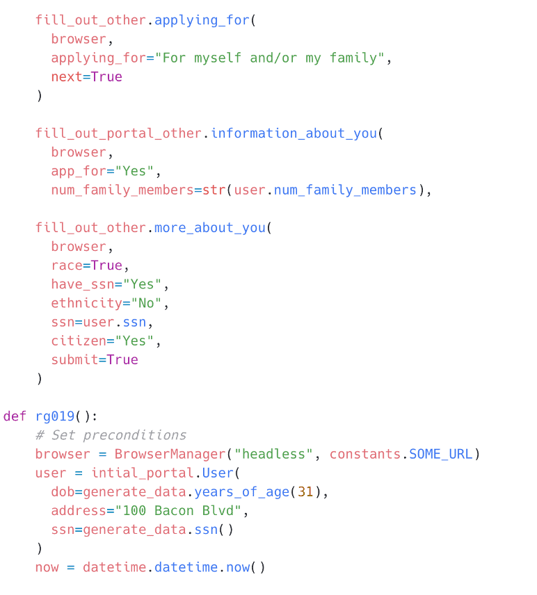 This code example shows an API test written in JavaScript on the Postman application. The data set was read randomly from various collection variables thanks to the switch statement. This test could be run by the Collection Runner in Postman or on a command line interface through Newman. Regardless the data would come from a CSV file.