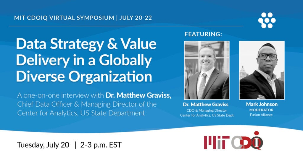The interview with Dr. Graviss is titled Data Strategy & Value Delivery in a Globally Diverse Organization. It will be held on Tuesday, July 20 from 2 to 3 p.m. EST at the MIT CDOIQ Symposium.